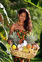 Native woman in traditional outfit. Caribbean