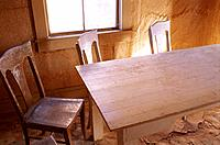 Dining room of deserted house in Bodie ghost town, Bodie State Historic Park, California