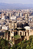 The Alcazaba (Moorish fort) and the Cathedral. Málaga. Spain