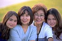 Thre generations of asian women