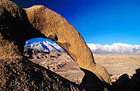Arch with Lone Pine Peak. Sierra Nevada. Alabama Hills. California. USA