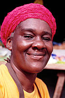 Woman produce seller at Scarborough market. Trinidad and Tobago