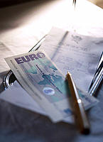 'Euro'travellers cheque and restaurant's bill