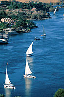 Feluccas on River Nile. Aswan. Egypt