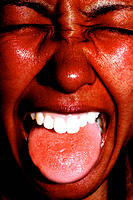 Girl, red face, red tongue. Digitally manipulated image
