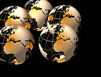 Multiple globes showing Europe and Africa in gold on black