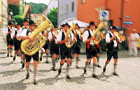 Parade in traditional costume. Wasserburg. Germany