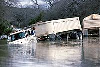 Man and truck after flood. Texas. USA