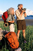 Senior couple videotaping. Chugach National Forest. Alaska. USA