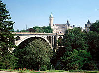Adolphe Bridge and State Savings Bank building. Luxembourg
