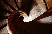 Spiral staircase. Gothic Lonja de la Seda ('Silk Exchange', 15th century). Valencia. Spain