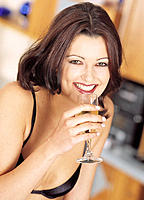 Woman, Bra, Champagne glass