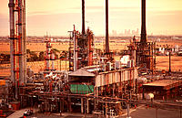 Petrochemical oil refinery with Melbourne city in background. Australia