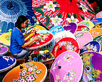 Painting umbrellas. Chiang Mai. Thailand