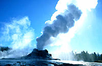 Castle Geyser erupting. Yellowstone National Park. Wyoming. USA
