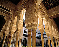 Spain, Andalusia, Granada, Alhambra, Court of the Lions