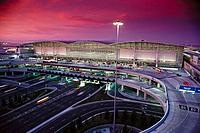 International airport of San Francisco at dusk. California. USA