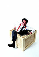 Business Man In Wooden Crate