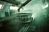 Car body in assembly line paint booth