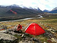 Man and tent. Sarek National Park. Lapland. Sweden