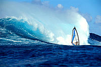 Paul Bryan windsurfing, big wave crashing behind B1352