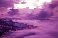 Kilauea lava flow into ocean at dawn, purple smoke blurry motion D1526 Kamoamoa pahoehoe