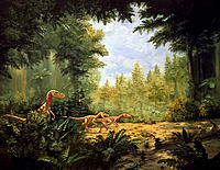 Dinosaur. Artwork showing a group of Velociraptor sp dinosaurs belonging to the Saurischia order and the Dromaeosauridae group. They were small (30-80...