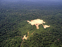Aerial photograph showing an area of rainforest cleared for the drilling of an exploratory oil well in Amazonian Ecuador. The well was originally dril...