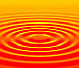 Concentric water ripples, computer artwork.