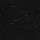 The Plough. Optical image of the group of stars known as The Plough (or Big Dipper) in the constellation Ursa Major, the Great Bear. North is at top. ...