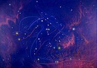 Draco constellation. Artwork of a dragon showing the outline of the constellation of Draco (the Dragon). The stars of this constellation are found nea...