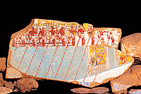 Painted relief of barque. Excavation num. 69 of Deir el Bahri. Egypt