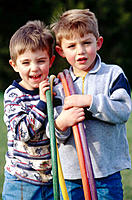 Boys playing outdoors