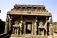 Carved facade of Kailasa Temple at Ellora Caves (cave num. 16). Aurangabad, Maharashtra state. India