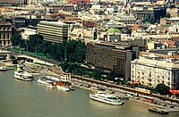 High angle view of buildings on the waterfront, Budapest, Hungary
