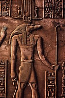Kom Ombo, Relief of the Crocodile_Headed God Sobek 2nd C. B.C., Ptolemaic Period Egyptian Art Tomb of Tutankhamen, Valley of The Kings, Luxor, Egypt
