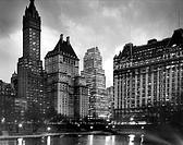 Skyscrapers lit up at night, New York City, New York, USA