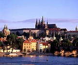 Buildings on the waterfront, St  Vitus Cathedral, Hradcany Castle, Vltava River, Prague, Czech Republic