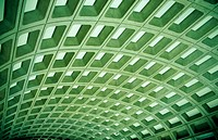 Pattern of formed concrete in ceiling of metro station. Washington D.C. USA