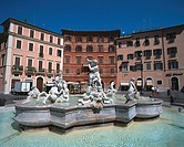 Neptune's Fountain (19th century) at Piazza Navona. Rome. Italy