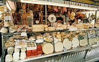Market in Italy, Assorted Cheese and Sausages