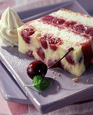 Cherry pie with vanilla blancmange