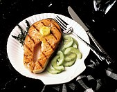 Grilled Salmon Steak with Sauteed Cucumbers