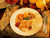 Holiday Turkey and Vegetables at a Place Setting