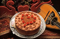 Chocolate Cake with Heart Decoration, Violin