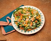 Caesar salad with smoked trout