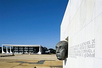 Monument of the Three Powers, projected by Oscar Niemeyer with bust of president Kubitschek. Brasilia. Brazil