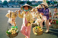 Asia, Asian, Baskets, City, Conical, Ese, Fruits, Hats, Ho chi minh, Holiday, Landmark, People, Tourism, Travel, Vacation, Vendo