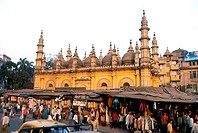 Market stalls near a mosque, Tipu Sultan Mosque, Calcutta, West Bengal, India