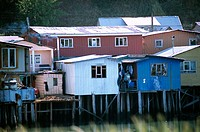 Fishermen houses on stilts. Castro. Chiloé Island. Chile
